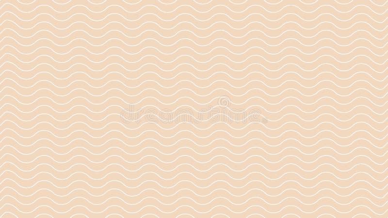 Linea onda bianca di astrattismo di colore sulla carta da parati marrone moderna, linea marrone molle concetto della luce morbida illustrazione di stock