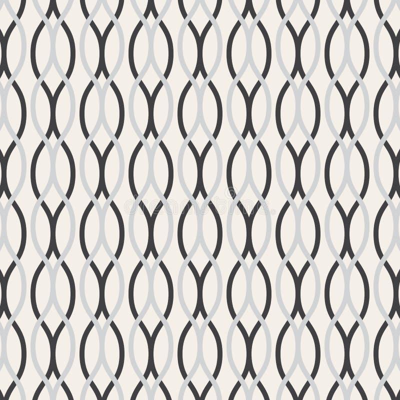 Linea ondulata modello di vettore, ripetente linea ondulata bianca nelle dimensioni differenti su fondo scuro royalty illustrazione gratis