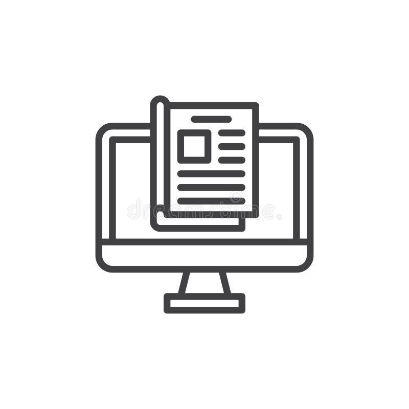 Linea online icona, segno di vettore del profilo, pittogramma lineare della rivista di stile isolato su bianco royalty illustrazione gratis
