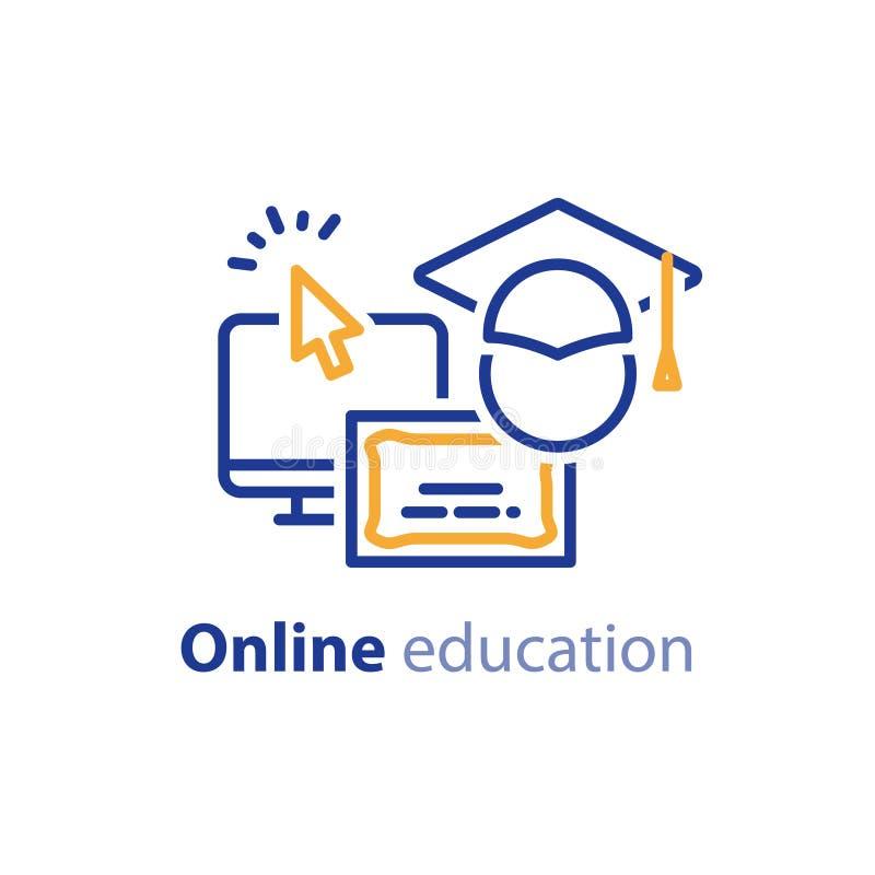Linea online icone, Internet di concetto di istruzione che impara i corsi, studio distante illustrazione di stock