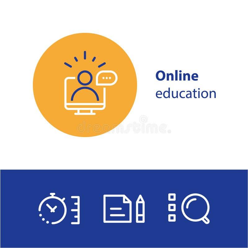 Linea online icone, Internet di concetto di istruzione che impara i corsi, studio distante illustrazione vettoriale