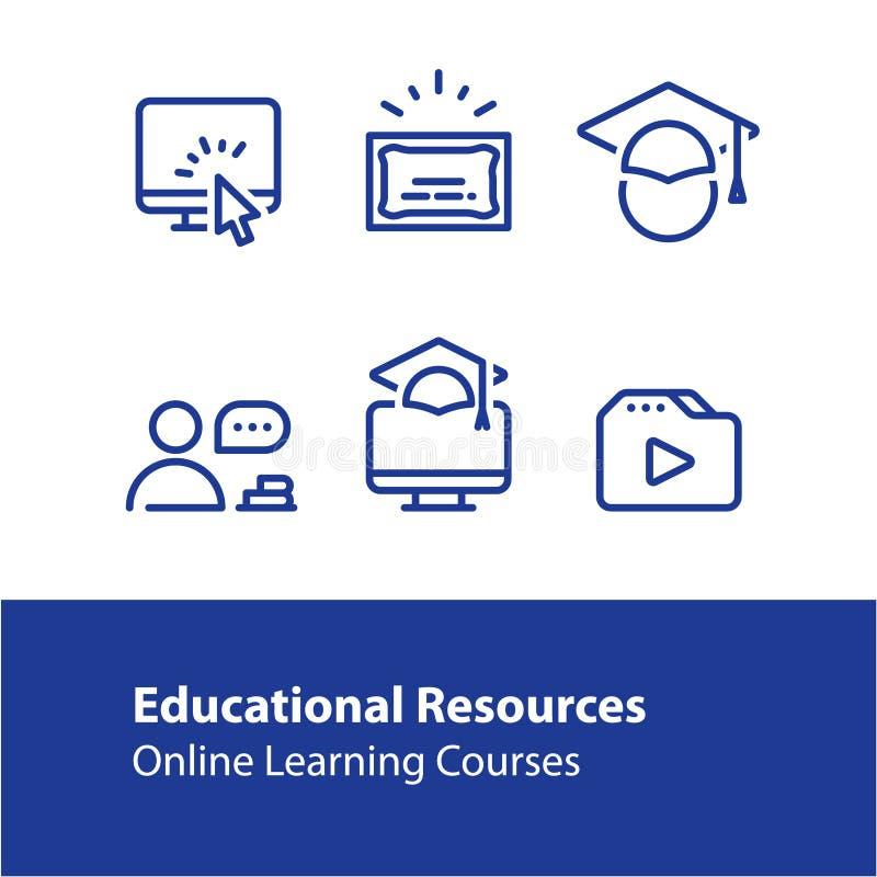 Linea online icone, Internet di concetto di istruzione che impara i corsi, studio distante royalty illustrazione gratis
