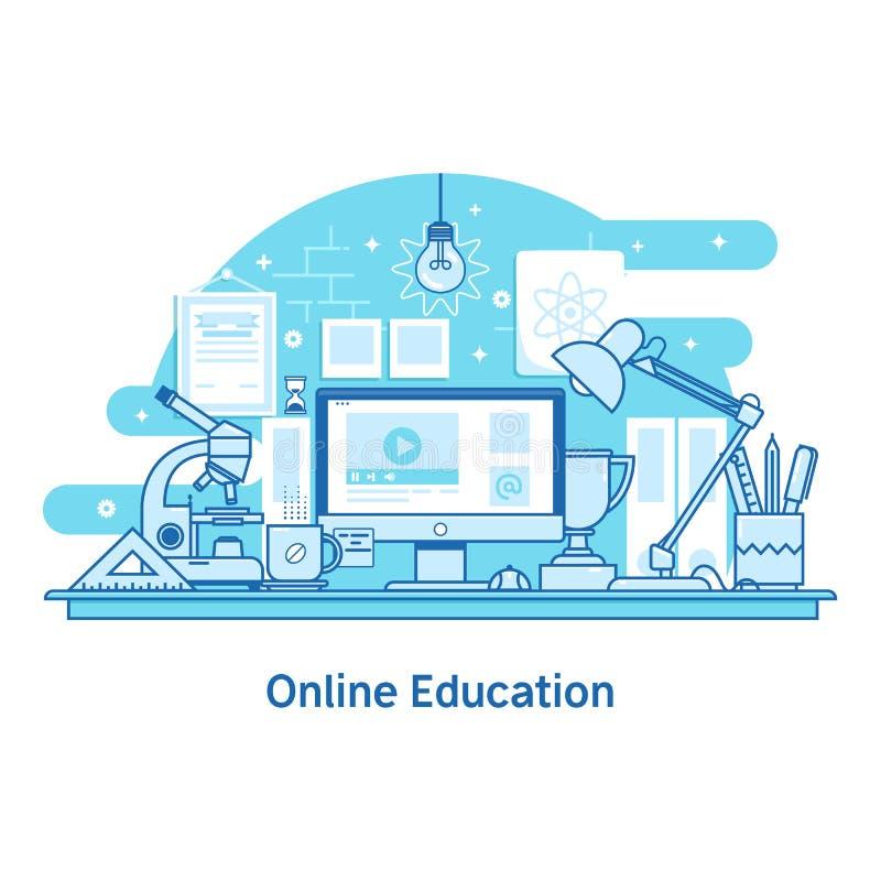 Linea online insegna di istruzione di e-learning di web di concetto di progetto illustrazione di stock