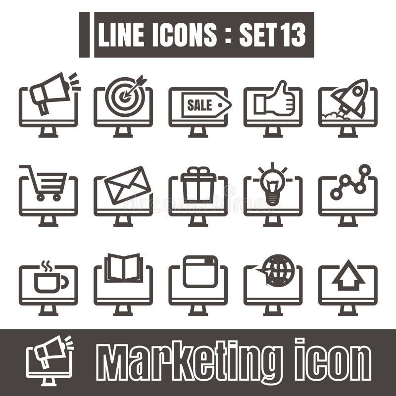 Linea online vettore moderno di vendita del computer dell'icona di stile del nero sopra royalty illustrazione gratis
