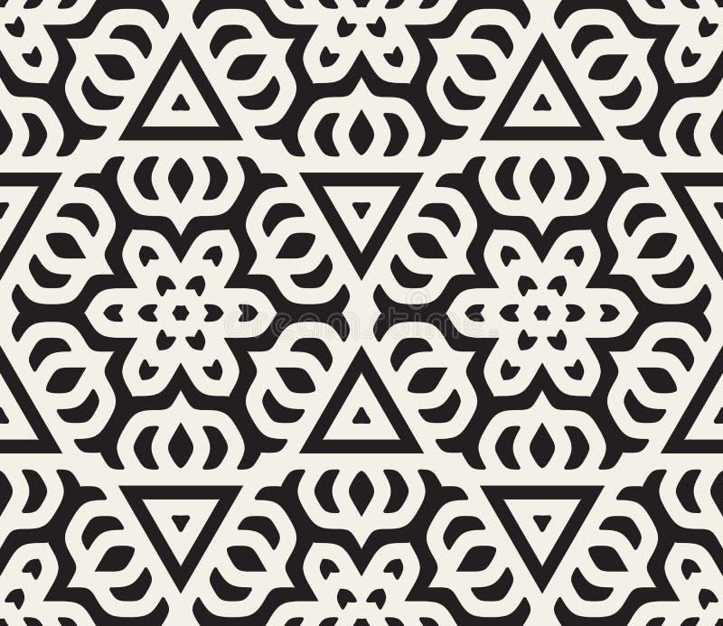 Linea orientale floreale arrotondata in bianco e nero senza cuciture modello della stella di vettore royalty illustrazione gratis