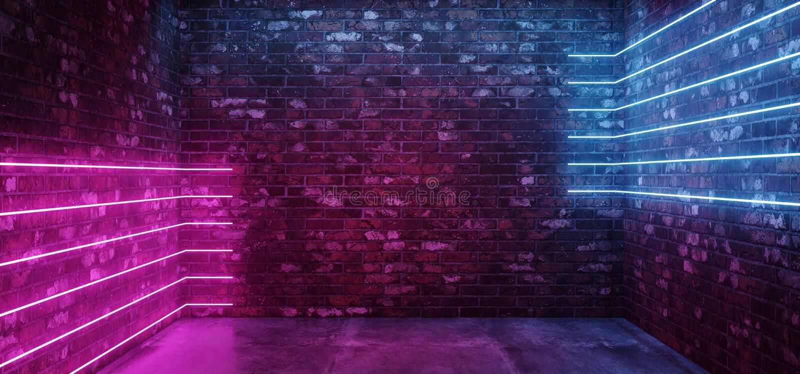 Linea orizzontale concreta d'ardore rosa blu del neon del pavimento delle luci di Sci Fi di lerciume del muro di mattoni di porpo royalty illustrazione gratis