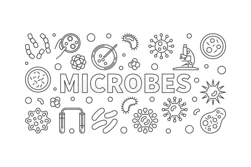 Linea orizzontale illustrazione dei microbi Insegna di vettore fatta con la m. illustrazione di stock