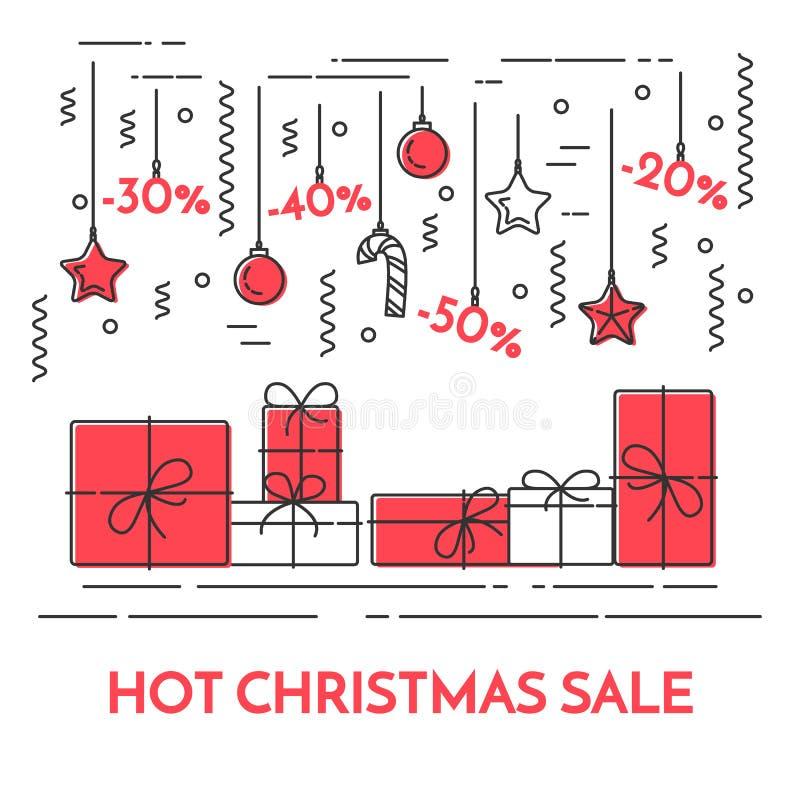 Linea orizzontale stile dell'insegna di vendite del nuovo anno e di Natale di arte illustrazione vettoriale