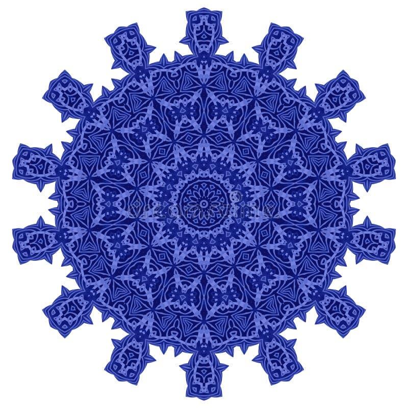 Linea ornamentale blu modello intorno a struttura Ornamento geometrico orientale fotografie stock