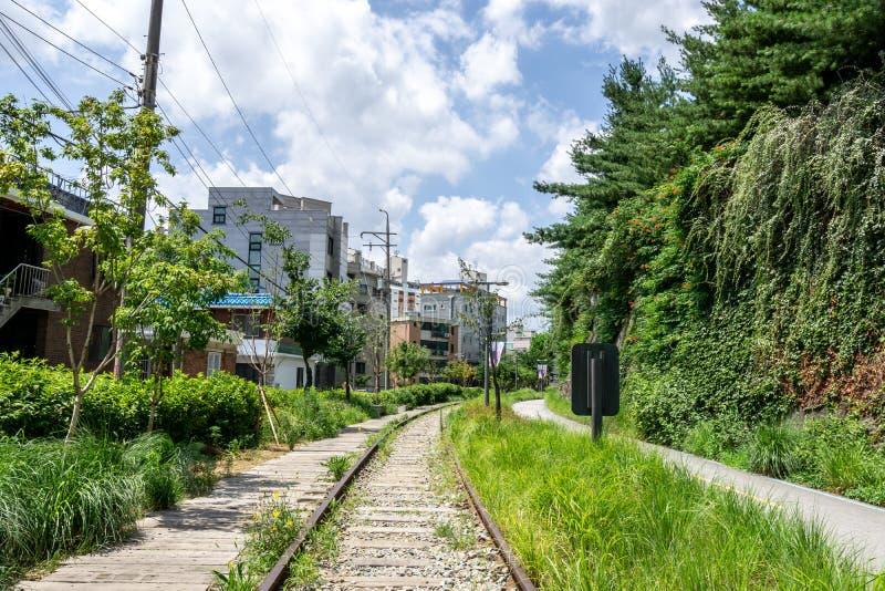 Linea parco di Gyeongchun della ferrovia immagine stock libera da diritti