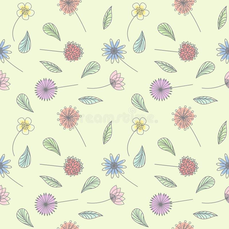 Linea pastello progettazione del modello del fiore floreale di vettore di arte di tiraggio illustrazione di stock