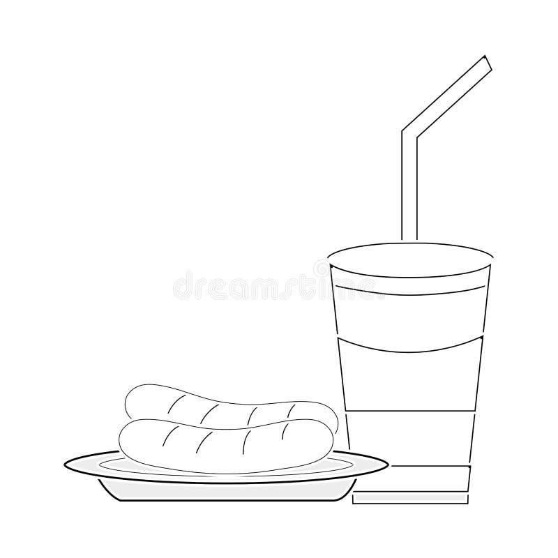 Linea pasto di plastica della salsiccia di delicios e della tazza della soda illustrazione vettoriale