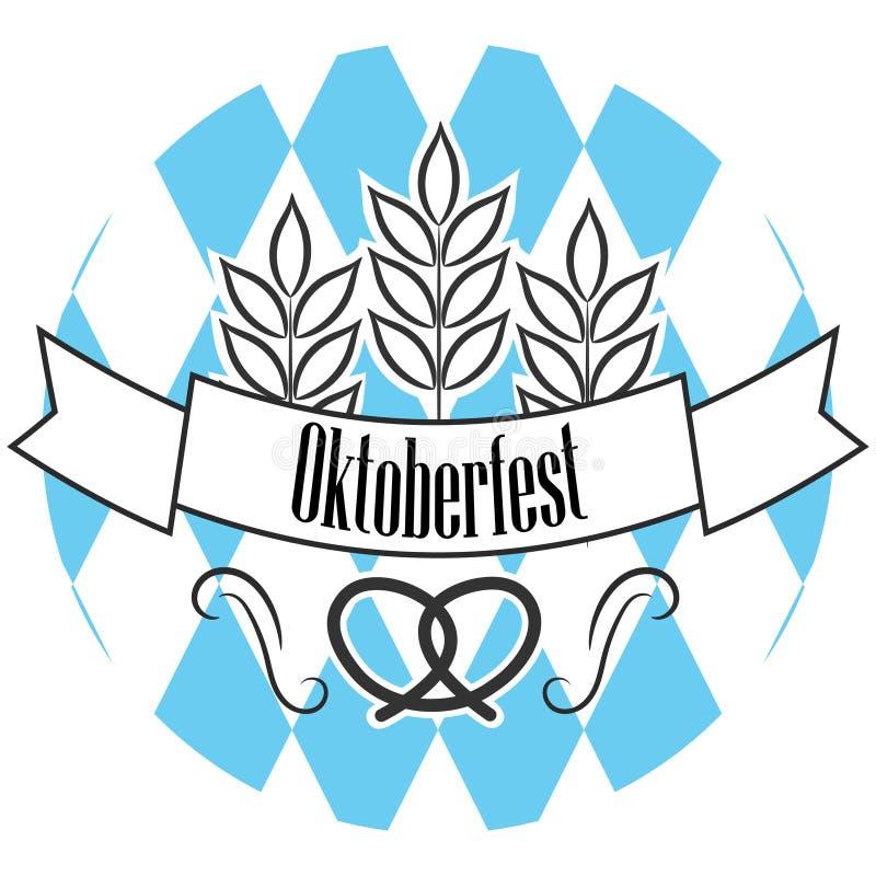 Linea più oktoberfest distintivo della birra di logo illustrazione di stock