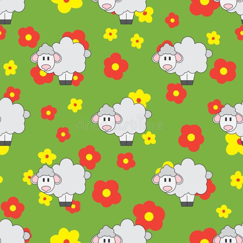 Linea piana animale sveglio del modello senza cuciture di vettore di colore per i prodotti del bambino - pecore Stile del fumetto illustrazione di stock