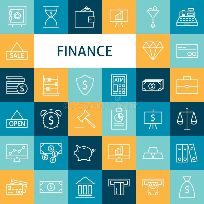 Linea piana Art Modern Finance Money di vettore e settore bancario I illustrazione di stock