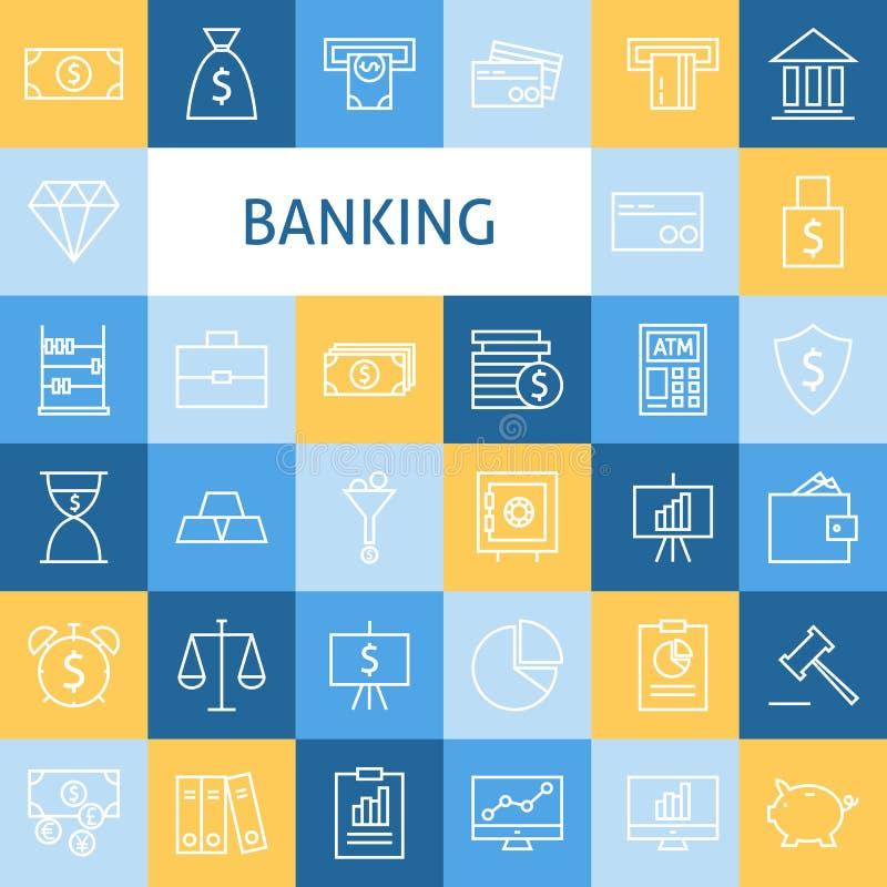 Linea piana Art Modern Money Finance di vettore e settore bancario I illustrazione di stock