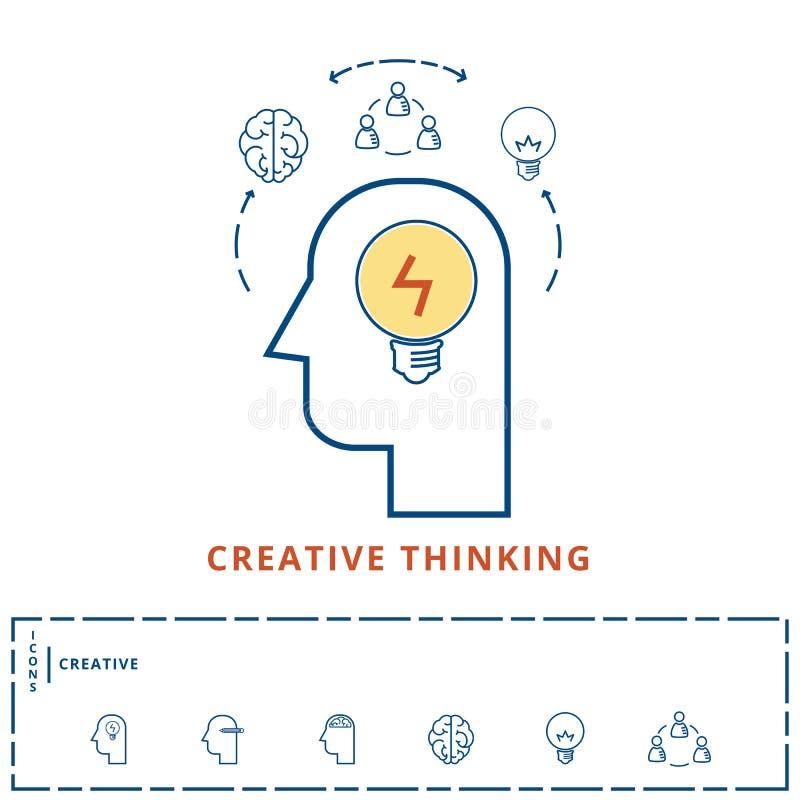 Linea piana concetto creativo di progettazione Idea di affari di ispirazione di idea di creatività, pianificazione, soluzione ast illustrazione di stock