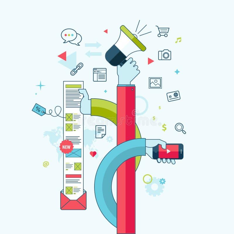 Linea piana concetto di progetto per l'introduzione sul mercato di Internet illustrazione di stock