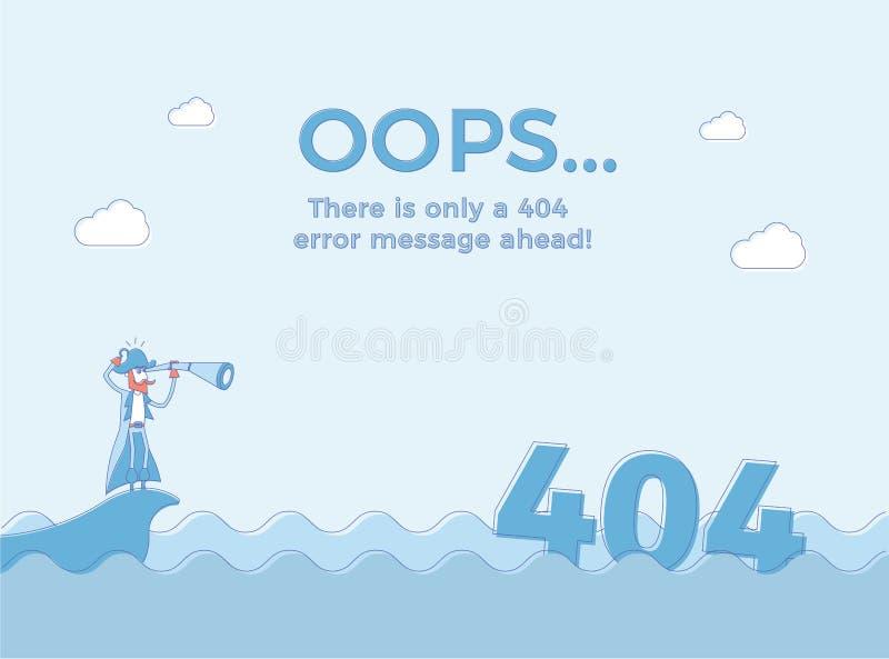 Linea piana concetto per l'errore non trovato 404 della pagina Vector il fondo dell'illustrazione con un pirata nel mare che ha t illustrazione vettoriale
