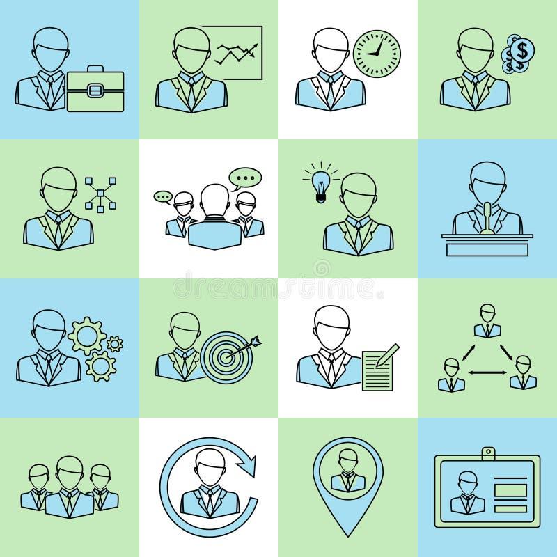 Linea piana delle icone della gestione e di affari royalty illustrazione gratis