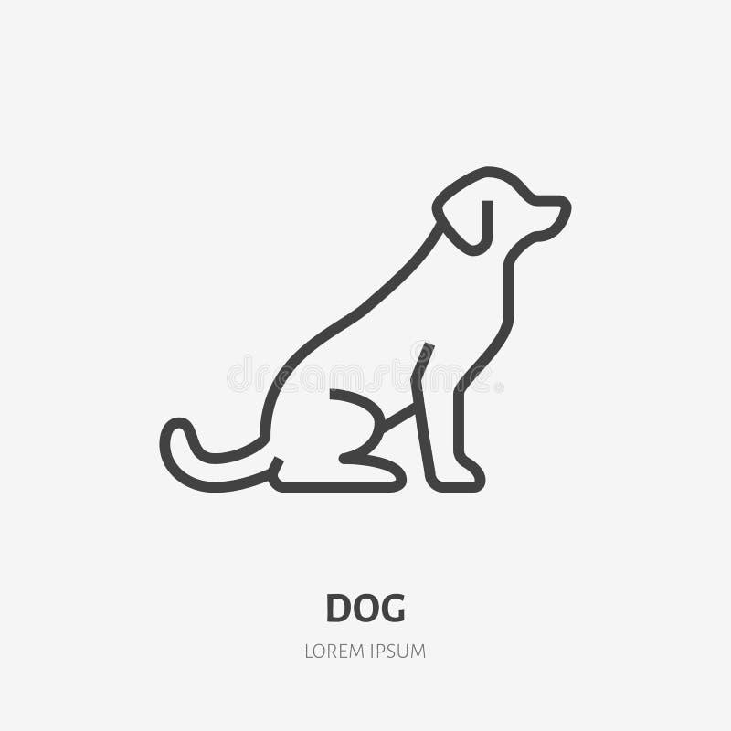 Linea piana di seduta icona del cane Segno sottile del cucciolo nero, logo animale di vettore Illustrazione del profilo del negoz royalty illustrazione gratis