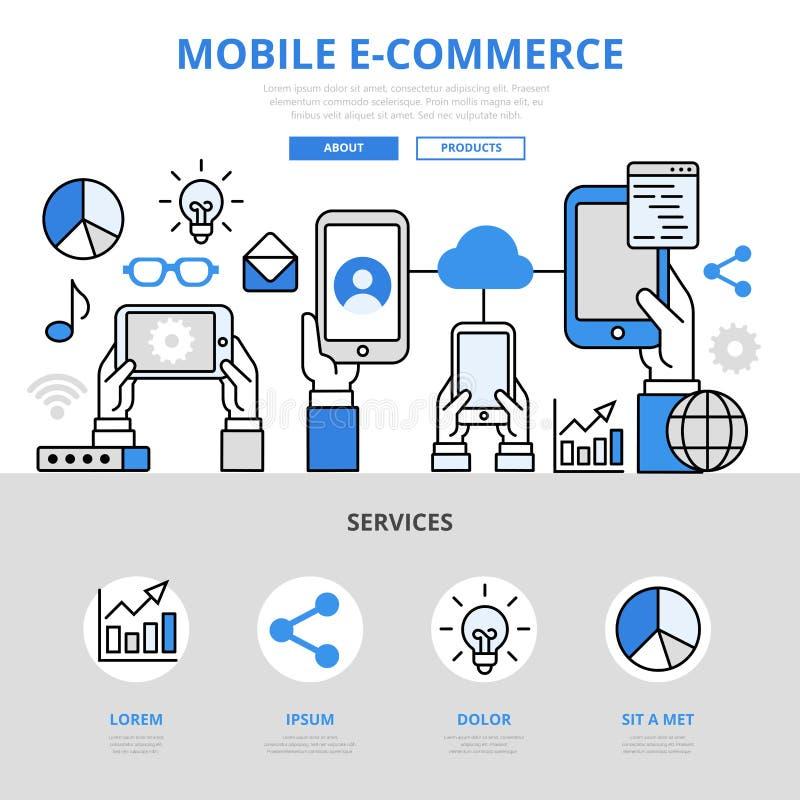 Linea piana eroe di commercio elettronico di concetto online mobile di acquisto di arte illustrazione vettoriale