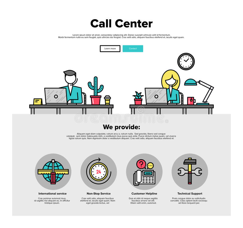 Linea piana grafici della call center di web royalty illustrazione gratis
