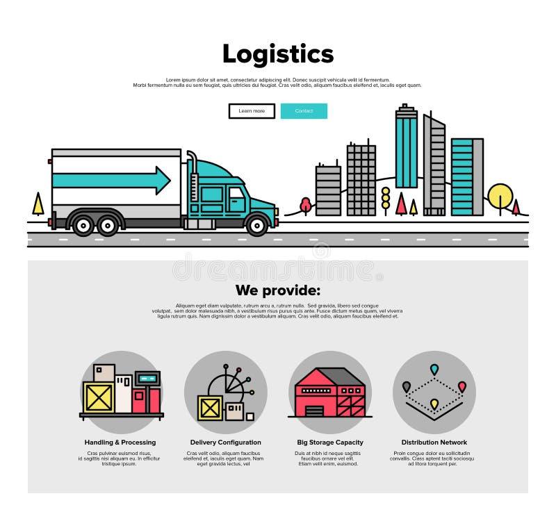 Linea piana grafici di logistica del camion di web illustrazione vettoriale
