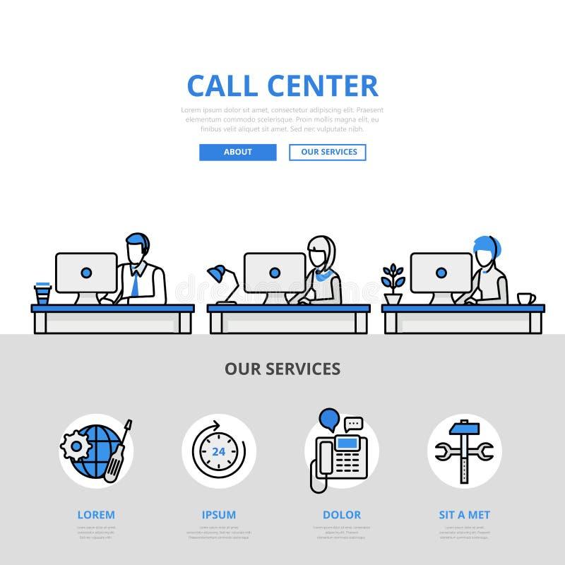 Linea piana icona dell'insegna dell'ufficio dell'assistenza agli'utenti della call center di vettore di arte illustrazione vettoriale
