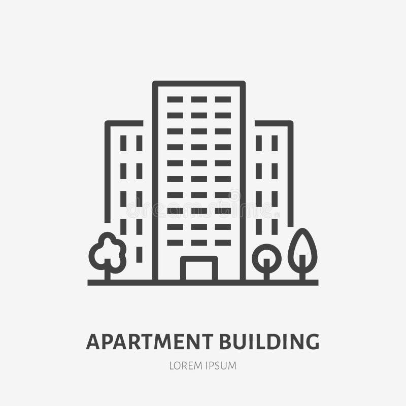 Linea piana icona della costruzione di appartamento Segno sottile della casa multipiana, logo di vettore di affitto del condomini illustrazione di stock