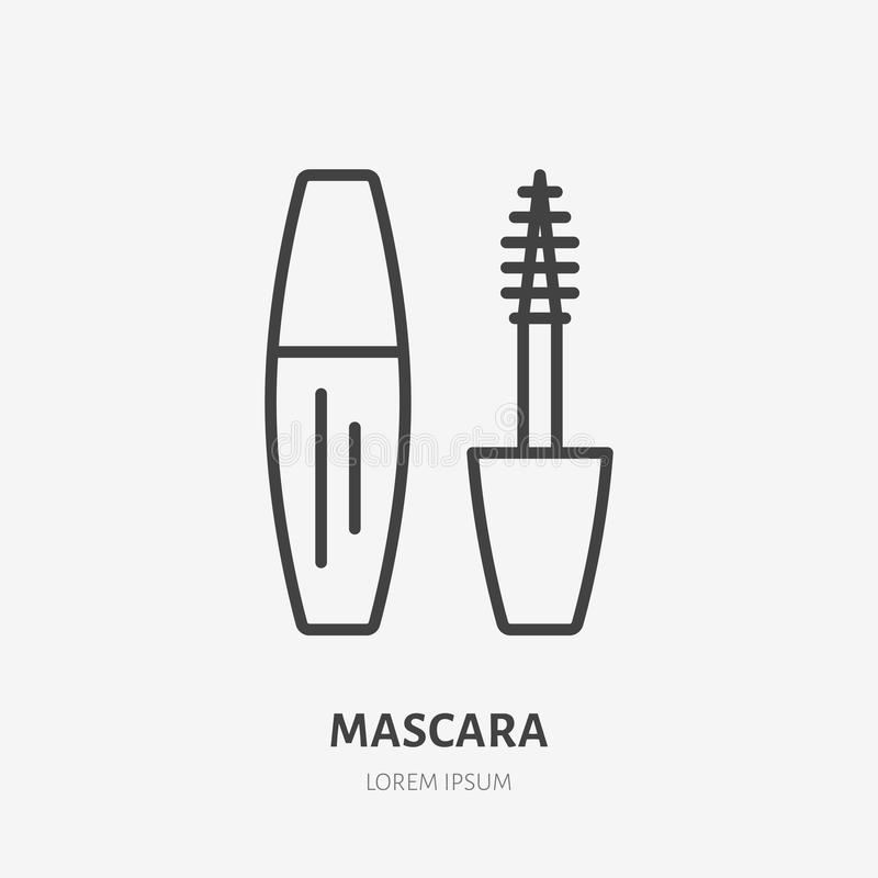 Linea piana icona della mascara Segno di cura di bellezza, illustrazione di trucco Logo lineare sottile per il deposito dei cosme illustrazione vettoriale