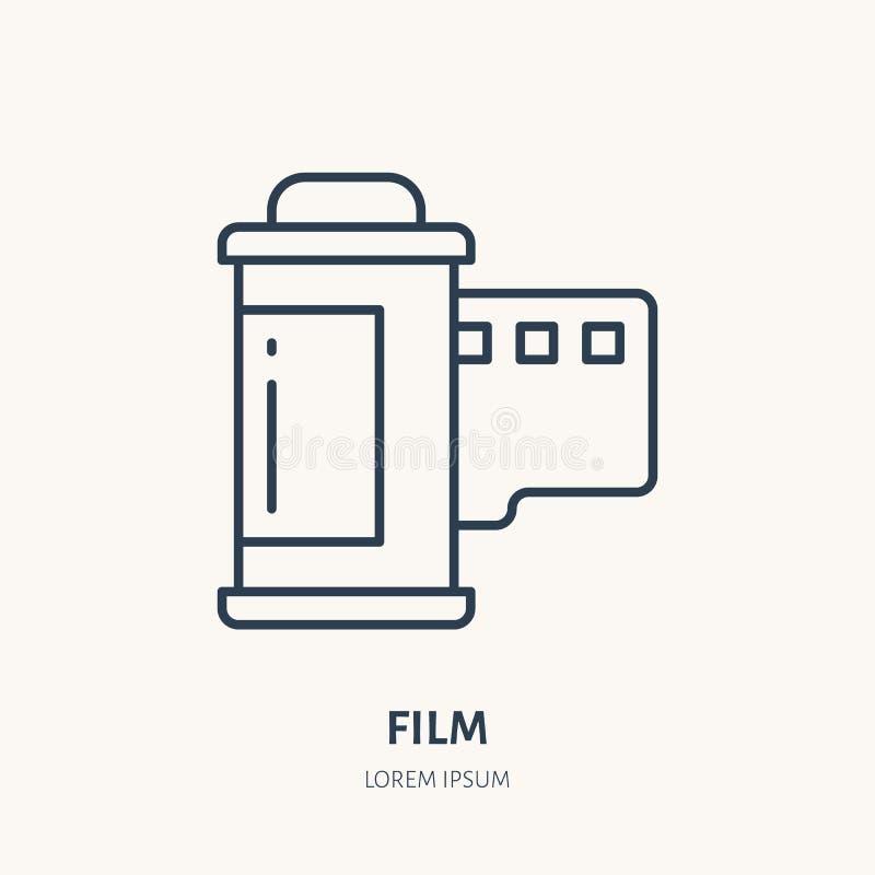Linea piana icona della retro striscia di pellicola Segno dell'attrezzatura di fotografia Logo lineare sottile per lo studio dell royalty illustrazione gratis