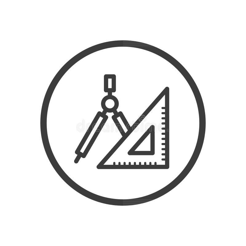 Linea piana icona di arte del righello e della bussola nel telaio rotondo royalty illustrazione gratis