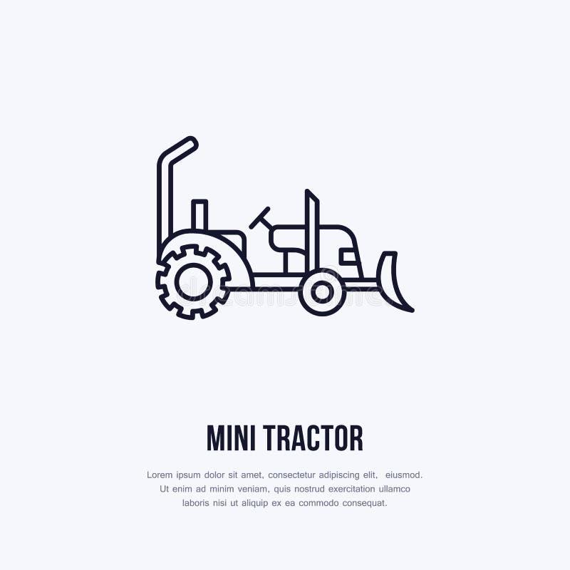 Linea piana icona di mini vettore del trattore Logo del trasporto Illustrazione della ruota di agricoltura, affitto dell'attrezza illustrazione di stock