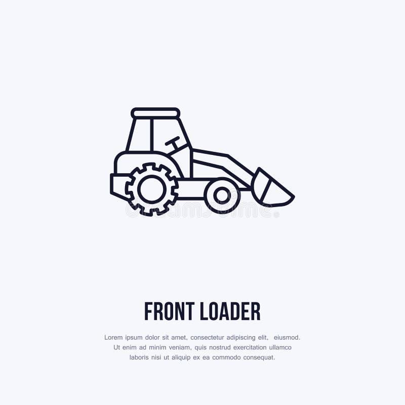 Linea piana icona di vettore anteriore del caricatore Logo del trasporto Illustrazione dell'escavatore, affitto dell'attrezzatura royalty illustrazione gratis