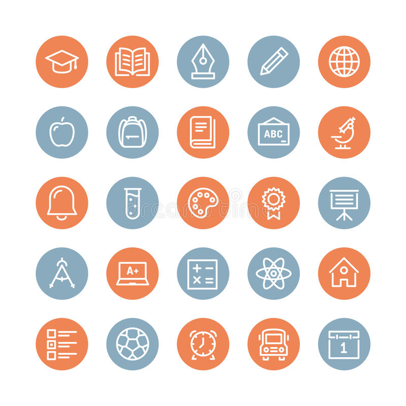 Linea piana icone degli oggetti di istruzione