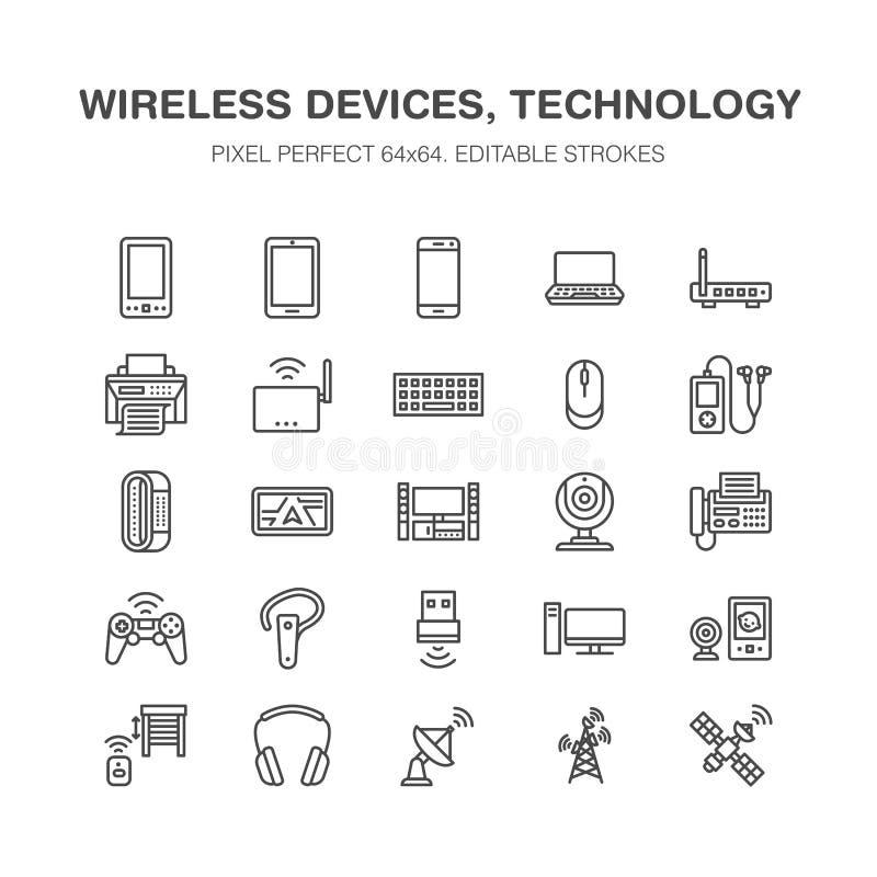 Linea piana icone dei dispositivi wireless Segni di tecnologia del collegamento a Internet di Wifi Router, computer, smartphone,  illustrazione di stock