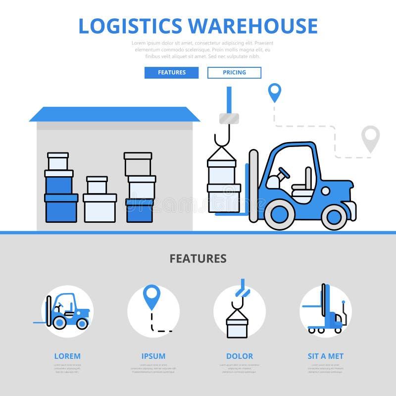 Linea piana icone del magazzino di concetto logistico di stoccaggio di vettore di arte illustrazione di stock