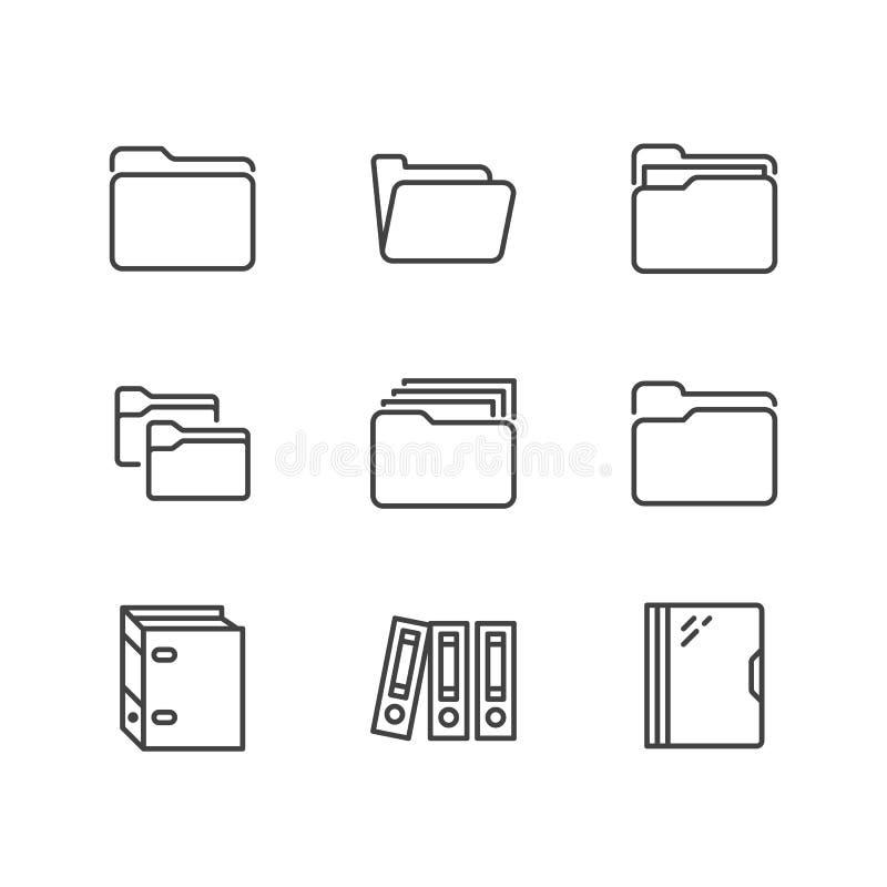 Linea piana icone della cartella Illustrazioni di vettore del file di documento - le carte d'ufficio che organizzano, profilo del royalty illustrazione gratis