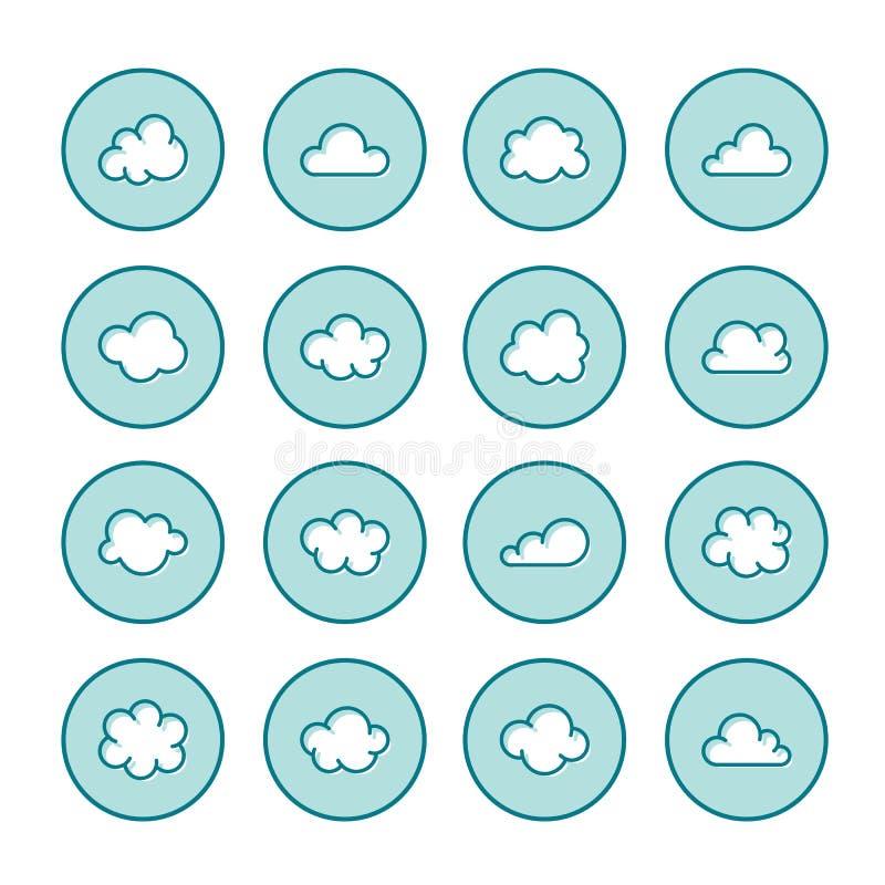 Linea piana icone della nuvola Si appanna i simboli per archiviazione di dati, segni sottili di previsioni del tempo per ospitare royalty illustrazione gratis