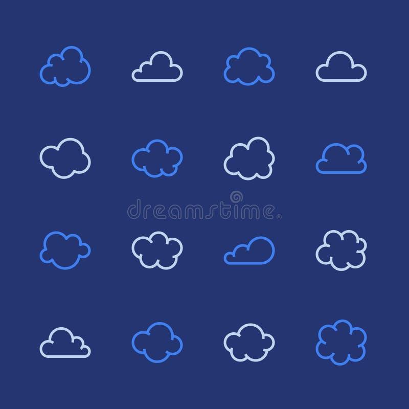 Linea piana icone della nuvola Si appanna i simboli per archiviazione di dati, segni sottili di previsioni del tempo per ospitare illustrazione vettoriale