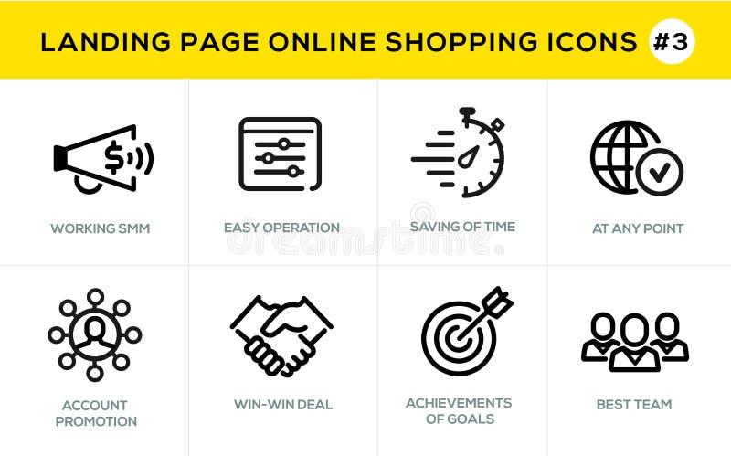Linea piana icone di concetto di progetto per acquisto online, l'insegna del sito Web e la pagina di atterraggio royalty illustrazione gratis