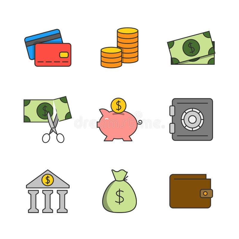 Linea piana icone di finanza illustrazione di stock