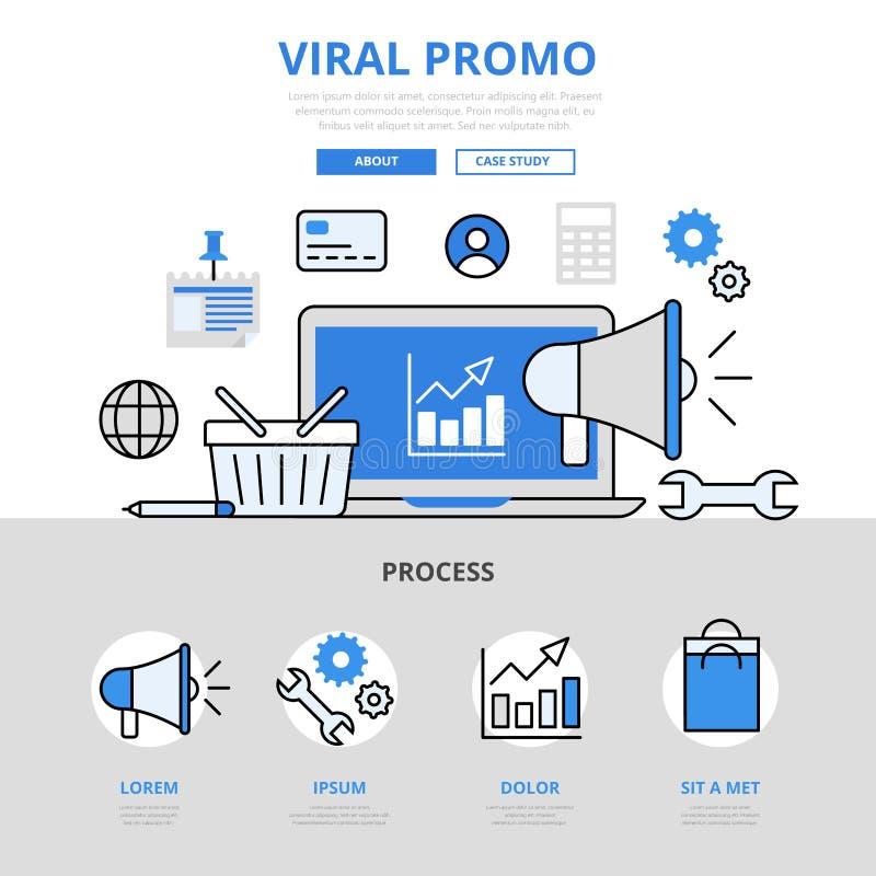 Linea piana icone di promo di vendita di Digital di concetto virale di promozione di vettore di arte illustrazione di stock