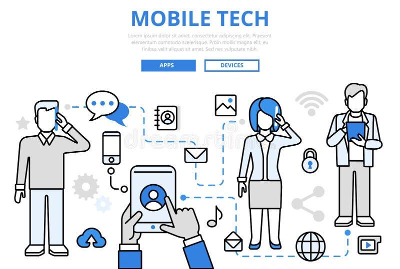 Linea piana icone di tecnologia di concetto mobile di comunicazione di vettore di arte royalty illustrazione gratis