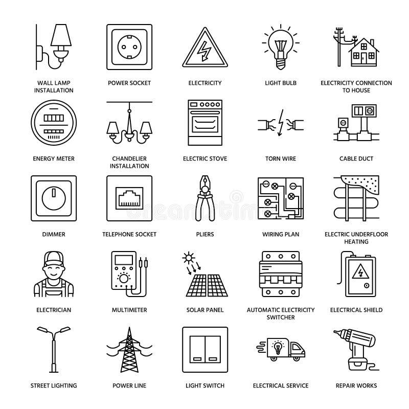 Linea piana icone di vettore di ingegneria di elettricità Materiale elettrico, incavo di potere, cavo lacerato, metro di energia, illustrazione di stock