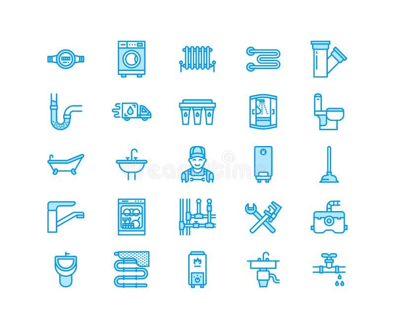 Linea piana icone di vettore di servizio dell'impianto idraulico Alloggi l'attrezzatura del bagno, il rubinetto, la toilette, la  illustrazione vettoriale