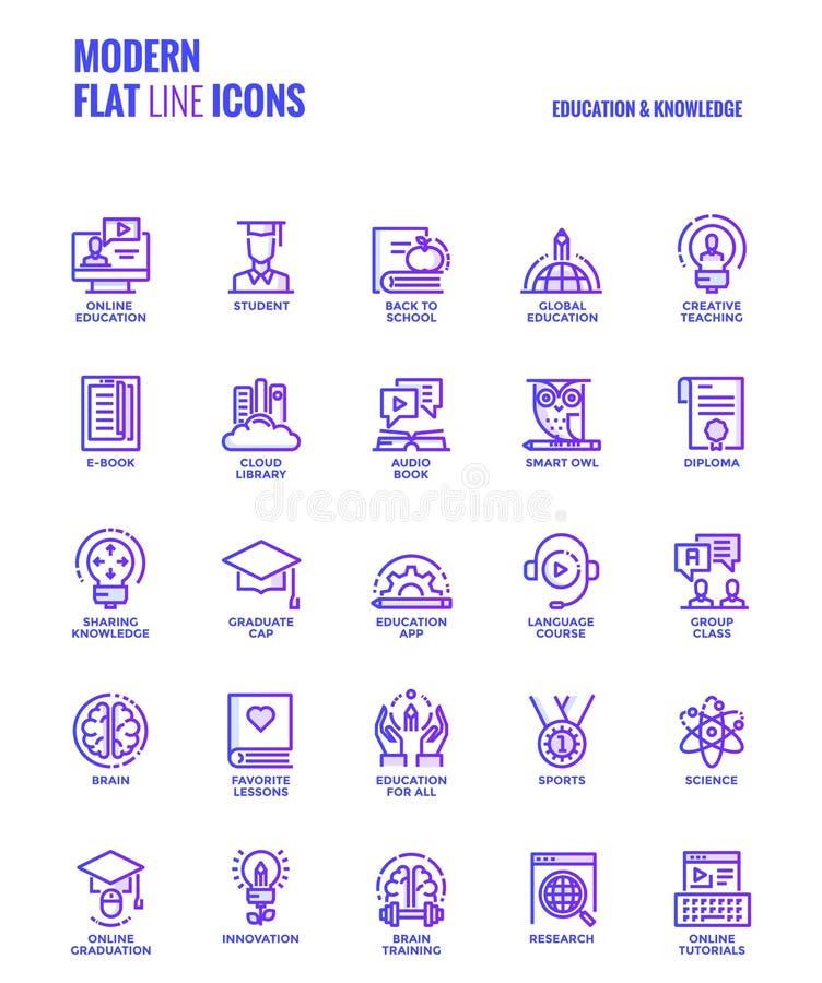 Linea piana icone progettazione-istruzione e conoscenza di pendenza royalty illustrazione gratis