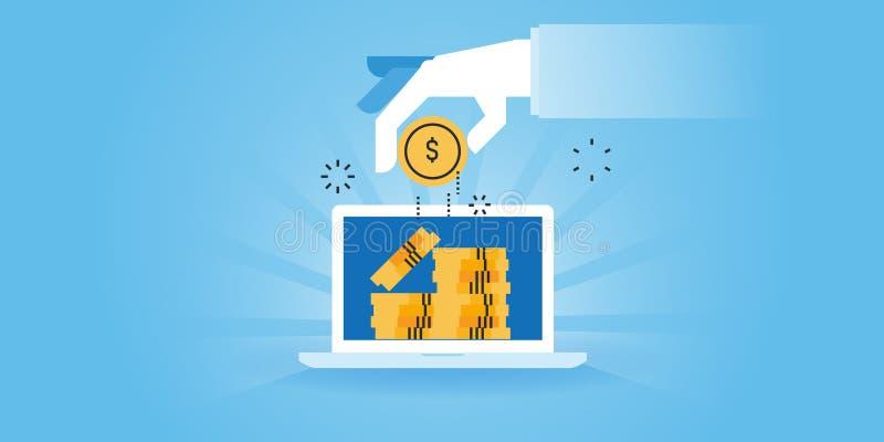 Linea piana insegna dei guadagni online, paga del sito Web di progettazione per clic, vendita della filiale, rinvii illustrazione vettoriale