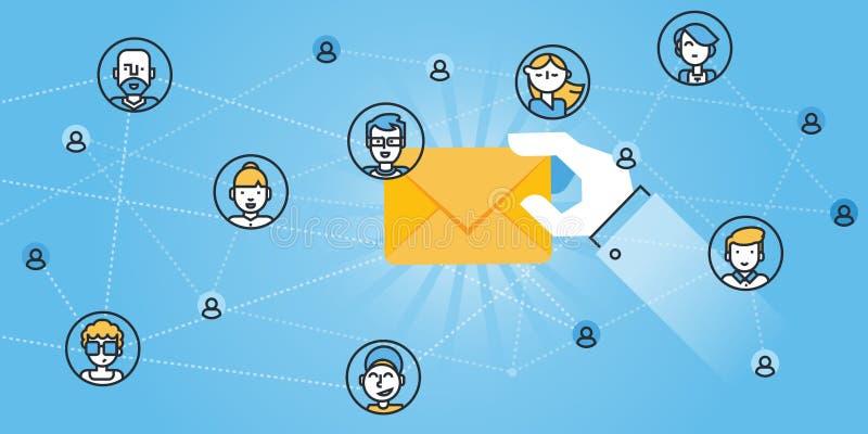 Linea piana insegna dei servizi di email, protezione del email, anti-malware app del sito Web di progettazione illustrazione vettoriale